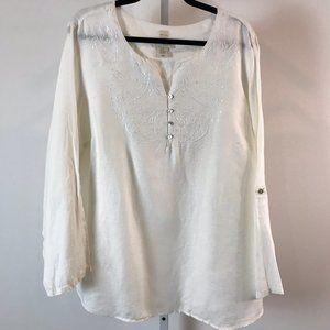 Cynthia Rowley White Embroidered Linen Tunic 2X